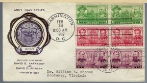 Patriotic Army-Navy Series First Day Cover Feb 18, 1937