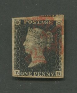 1840 Great Britain Postage Stamp #1 Used VF Red Fancy Postal Cancel