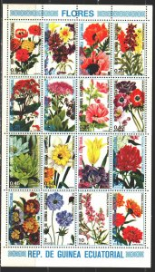 Equatorial Guinea. 1979. Small sheet 1582-97. Flowers, flora. MNH.