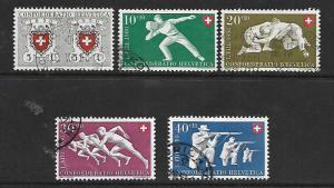 SWITZERLAND, B191-B195, U, 1950 SET