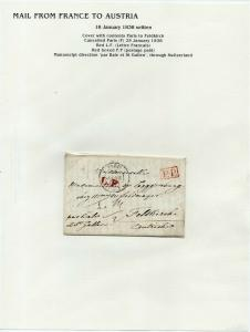 FRANCE Early LETTER/COVER 1838 fine used item Paris - Feldkirch Austria