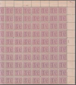 #537c SHEET/100 RED VIOLET  F-VF OG (93)NH (7)H CAT $40,000  w/ PSAG BR2168 HSSH
