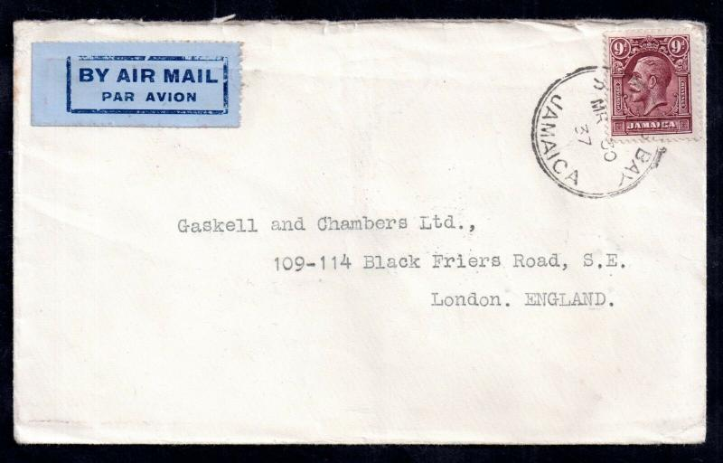 Jamaica KGV 1937 9d Airmail cover to UK WS11995