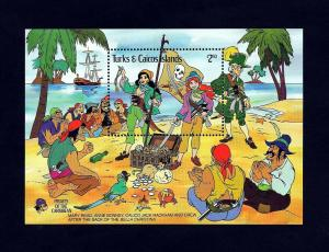 TURKS & CAICOS - 1985 - DISNEY - PIRATES OF THE CARIBBEAN - MINT SOUVENIR SHEET!