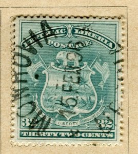 LIBERIA; 1892 early Pictorial issue fine used 32c. value, fine Postmark