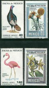 MEXICO 1195-1196, C632-C633 MEXICAN FLORA AND FAUNA. MINT, NH. VF.