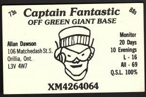 QSL QSO RADIO CARD Captain Fantastic, Orillia, ON Canada (Q753)