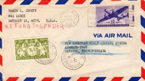 French Guiana U.S. 10c Transport 1946 Detroit, Mich. Pan Am Test Flight Airma...