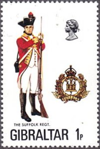 Gibraltar # 330 mnh ~ 1p Military Uniform - Suffolk Regiment