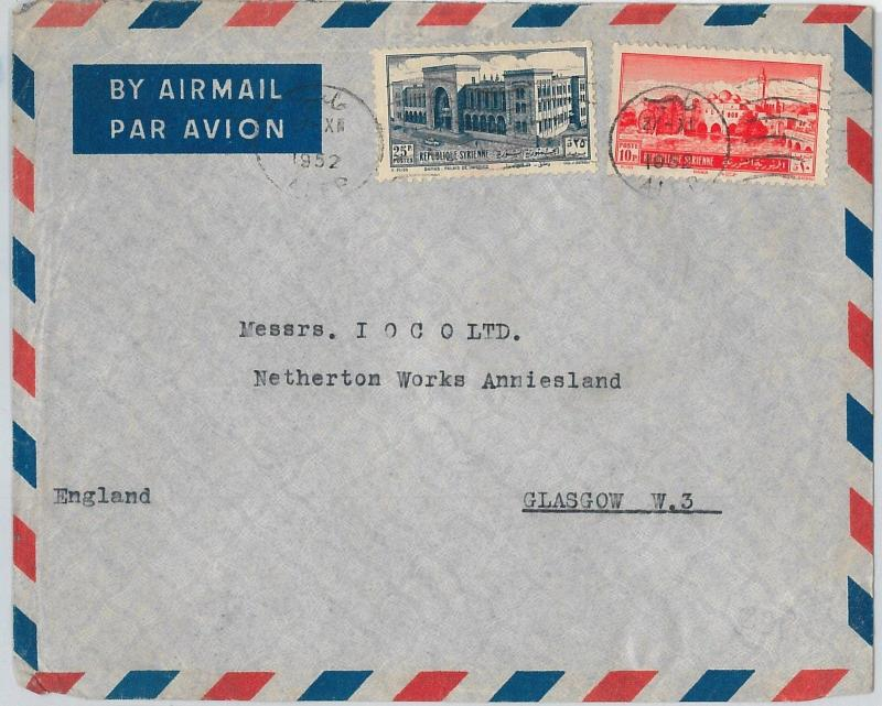59016 - SYRIA  - POSTAL HISTORY:  AIRMAIL  COVER to  GLASGOW  GB  1952