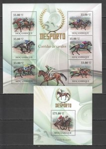 BC1347 2010 MOZAMBIQUE SPORT ANIMALS HORSES SPORT RACING 1KB+1BL MNH