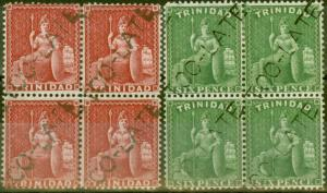 Trinidad 1876 Lake SG75 & 6d Brt Yellow-Green SG77 in V.F.U  C.T.O TOO LATE Bloc