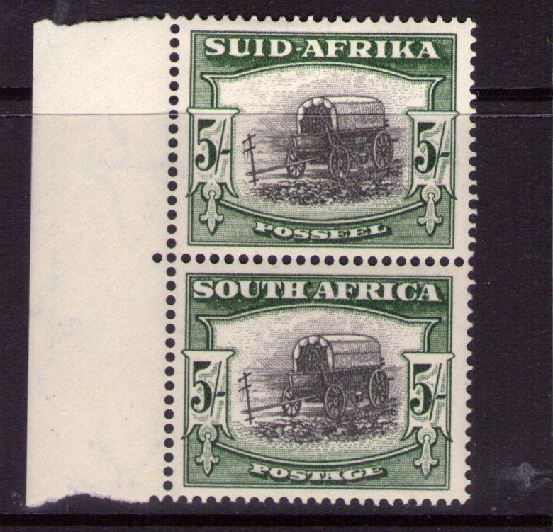 South Africa SG122A 1947 5/- pair lightly hinged