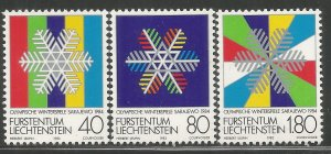 LIECHTENSTEIN 772-774 MNH, 1984 WINTER OLYMPIC GAMES