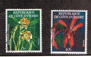 Ivory Coast  1977  447a, 447b  Used  Flowers