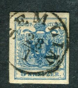 AUSTRIA; 1850 early classic Imperf issue fine used 9k. lovely cancel