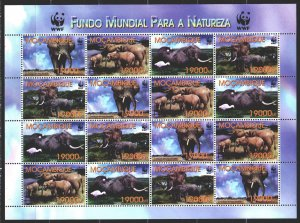 Mozambique. 2002. Small sheet 2383-86. Elephants, WWF, fauna. MNH.