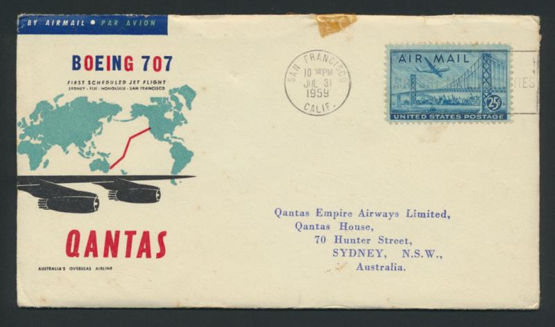 1963 Qantas First Flight Cover - San Francisco  to Sydney AAMC 1407 SPECIAL