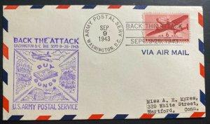 1943 Washington DC USA Patriotic Airmail Cover To Hartford CT Back The Attack
