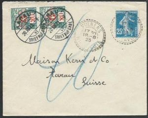SWITZERLAND 1923 cover France to Arrau - postage dues added................58387