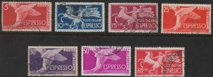 Stamp Italy SC E19-25 1945 Winged Foot Rearing Horse Torch Bearer Rome Set Used