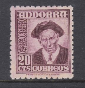 Andorra, Spanish Sc 40 MNH. 1948 20c Provost definitive, fresh