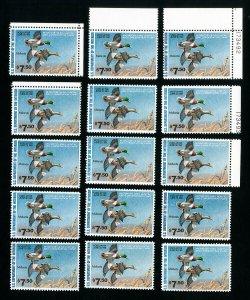 US Stamps # RW47 VF OG NH Lot of 15 PO Fresh Face $112.50