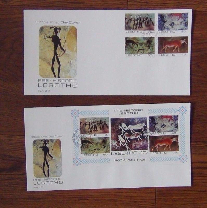 Lesotho 1983 Rock Painting set Miniature Sheet on First Day Cover (2 Covers)