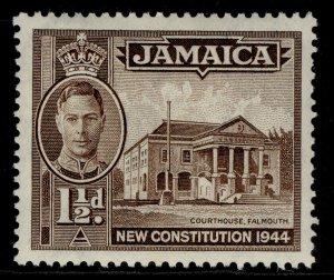 JAMAICA GVI SG134a, 1½d sepia, M MINT. Cat £18. PERF 12½ X 13