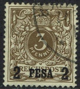GERMAN EAST AFRICA 1893 EAGLE OVERPRINTED 2 PESA ON 3PF USED