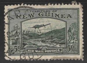 New Guinea Scott C52 Used Airmail  stamp bottom margin stain