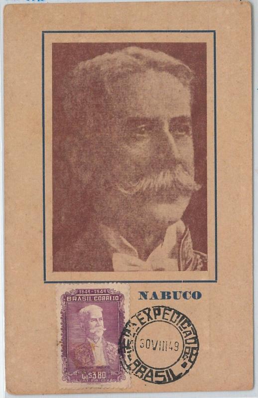 59154  -  BRAZIL - POSTAL HISTORY: FDC  MAXIMUM CARD 1949  -  POLITICS Nabuco