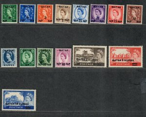 Qatar Sc#1-15 M/H/VF, Cv. $41.10