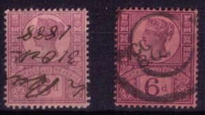 Great Britain Sg 208-208a 2-Shades(Sc #119)Used Purple Rose Red/Dark Purple Red