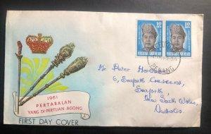 1961 Penang Malaya First Day Cover FDC To Australia Pertabalan Yang Di Pertuan