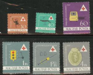 HUNGARY MAGYAR  Scott 1366-71 MNH** 1961 Red Cross set