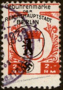 Germany NSDAP 1939 Berlin RM Dues Revenue Stamp 96227