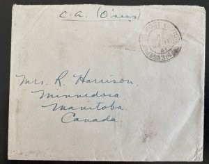 1941 Canadian Army Overseas Field Post 314 Cover To Manitoba Canada Harrison