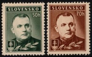 ✔️ SLOVAKIA 1939 - TISO PERF 12½  - SC.43/43a MNH OG [SK067YA]