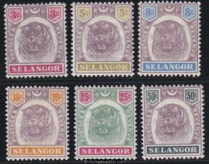 1895 -1898 Malaya selangor 3c to 50c Tiger set of 6, SG 54-59, MH