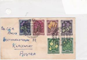 austria 1952 assorted flowers stamps cover ref 21223