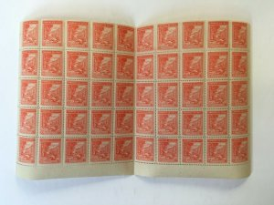 Chile 1942-46 10c Part Sheet of 50 Stamps MNH. Scott 217 + SOFICH Varieties