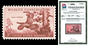 Scott 1077 1956 3c Wildlife Cons. Issue Mint Graded XF-Sup 95 NH with PSE CERT!