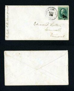 # 184 Essex Junction & Boston RPO cancel to Cornwall, VT - 1-25-1880's