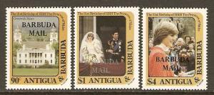 Barbuda #544-6 NH Diana 21st Birthday Ovpt. Barbuda