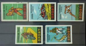 Match Box Labels ! sport fisherman box race car bike athletics GN56