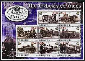 Uzbekistan 2001 Steam Trains #3 perf sheetlet containing ...