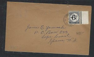 GOLD COAST (P0511B) 1954  LOCAL COVER TO CAPE COAST UNSTAMPED POSTAGE DUE 6D