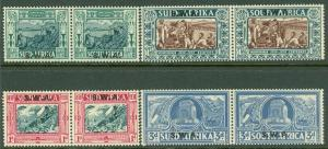 SOUTH WEST AFRICA : 1938. Stanley Gibbons #105-08 pairs. Very Fine, Mint No Gum