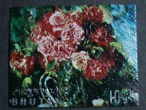 BHUTAN STAMP-COLORFUL OIL PAINTING STAMP-LOVELY FLOWER MINT STAMP- VF